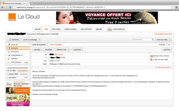 E-mail envoyé à partir d'Orange Manif Pour Tous